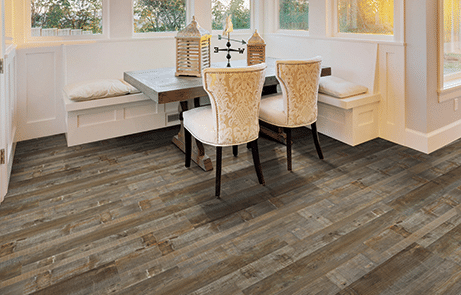 Dunn describes this multi-strip flooring from StoneCast as a defining feature for a minimalist space.