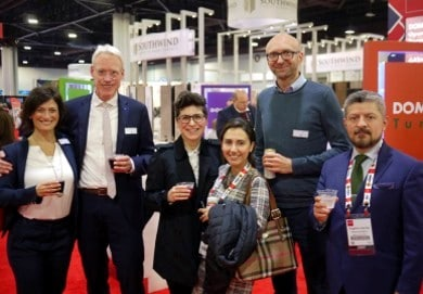 The Domotex teams from Germany and Mexico: Sonia Wedell-Castellano, Dr. Andreas Gruchow, Mehtap Raue, Pamela Velazco, Bernd Rohde, and Eugenio Carrillo.